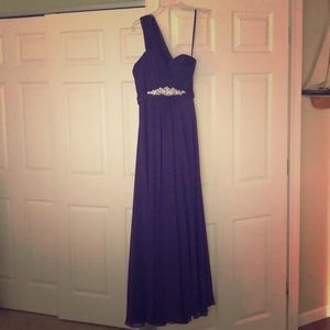Formal purple dress with silver beading decal